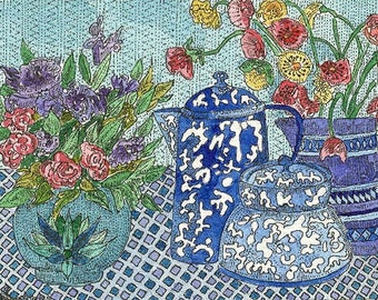 Still Life with Spatter Ware and Flowers ACEO print by Theodora