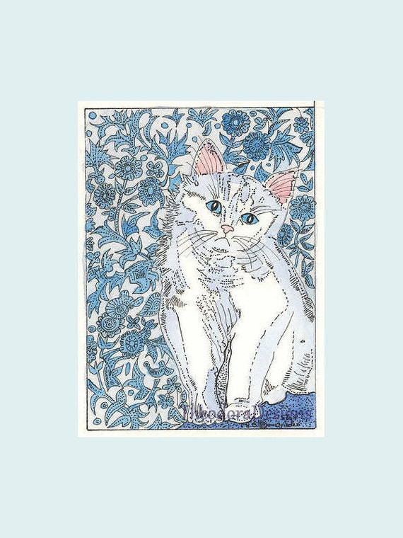 ACEO Signed Original Limited Edition Print  Kitty Cat  Quilt in Blue by Theodora