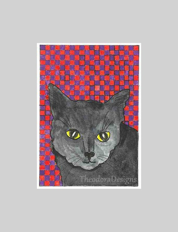 Black Cat Checkered Background ACEO Red Purple  by Theodora