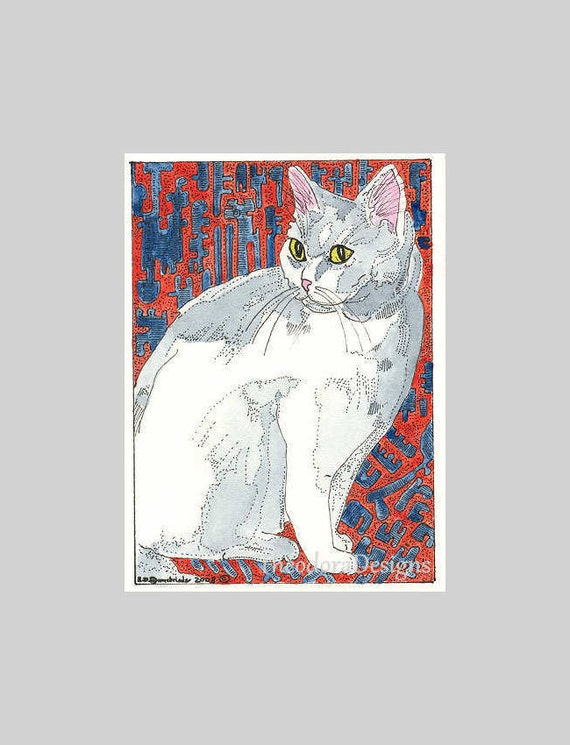 White Kitty Cat on the Red and Blue Blanket ACEO by Theodora