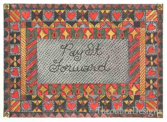 PAY IT FORWARD Fraktur Aceo Word Print  by Theodora