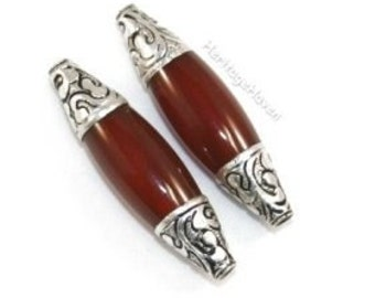 2 Silver Capped Brown Carnelian Long Bicone Beads -- 50mm x 14mm -- BD-ST-16 Pair