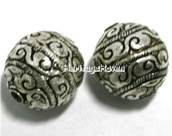 TWO Ornate Tibetan Silver Round Beads 20mm diameter Etched Vines Boho Jewelry Design Making - BD-SL-26