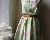 Jennifer Lilly Gorgeous Handmade Beautiful Green Vintage Cotton Floral Dress (Small and Medium)