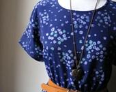 Handmade Jennifer Lilly Beautiful Navy Floral Crepe Vintage Tea Dress (Medium to Large)