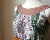 Gorgeous Jennifer Lilly Handmade Vintage Inspired Green Sunflower Contrast Dress // Boho Spring Vintage Whimsical Summer Dress (S)