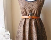 Jennifer Lilly Vintage Inspired Handmade Brown Floral Cotton Dress // Boho Whimsical Woodland Bohemian Romantic Tea Party Dress (XS,S)