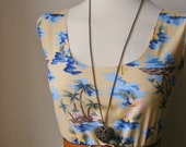 SALE...Jennifer Lilly Handmade Vintage Inspired Cream Desert Island Palm Tree Dress // Bohemian Vintage Kitsch Summer Meadow Boho Dress (M)
