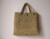 Beautiful Vintage BoHo Natural Fiber Woven..Hand Bag...Purse // Bohemian Spring Summer Woodland Whimsical Summer Holidays