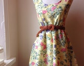 Jennifer Lilly Handmade Beautiful Lemon Yellow Ornate Floral Cotton Dress // Boho Spring Vintage Whimsical Dress (XS,S,M,L,XL)