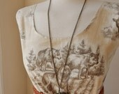 Handmade Jennifer Lilly Vintage Inspired Cream and Grey Wolf Deer Animal Dress // Bohemian Woodland Meadow Summer Prairie Dress (S)