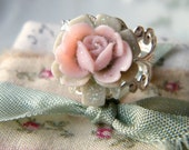 Garden Party.  glitter pink and mint rose ring on silver lace band.  nickle free