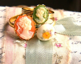 Analisa Grace. vintage cameo ring trio
