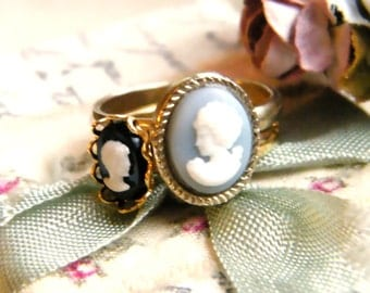Jane and Elizabeth.  vintage cameo ring duo