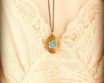 Fairytale Locket--Vintage Blue Rose and Vintage Brass Locket Necklace