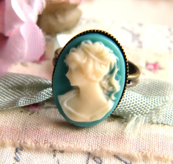 Teal & Ivory Cameo Ring