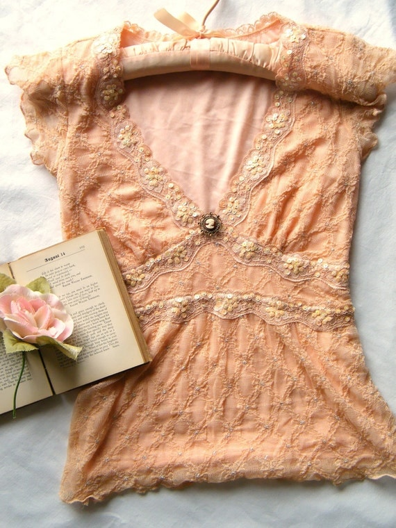 1940.  vintage burgundy ivory cameo brooch and peach lace blouse Womens XS - Small
