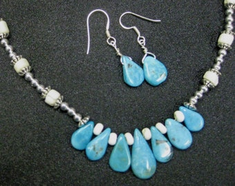 Turquoise Bone Italian Glass Bead Necklace with Earrings