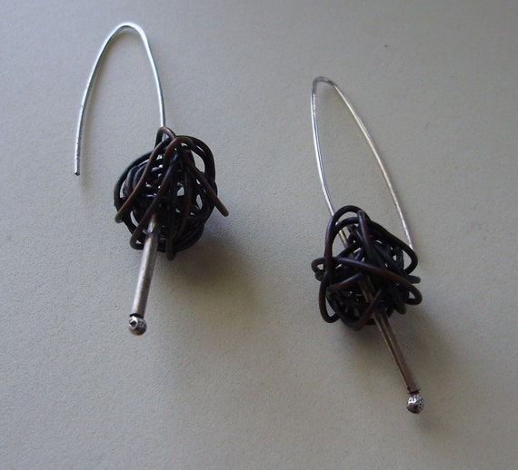 blackened ball moss earrings