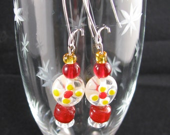 Lampwork glass flower earring scarlet red and lemon yellow