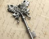 Key, Steampunk skeleton key Winged pendant Art Nouveau key PEWTER