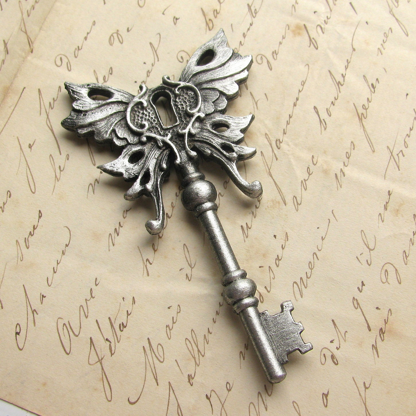 Key Art Design : Steampunk skeleton key winged pendant art nouveau by hauttotes