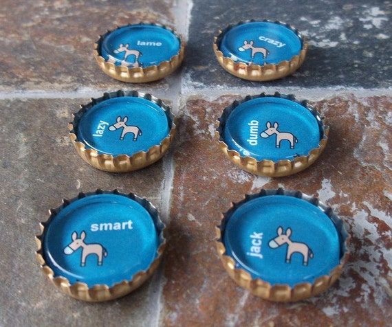 Naughty Donkey - bottlecap magnet set (bright blue)