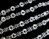 3 Ft. Handmade Antique Silver Chain Cross Link, Finding Supply / Destash, Alloy Chain, about 8mm wide, 17.5mm long  X 7.5mm in diameter