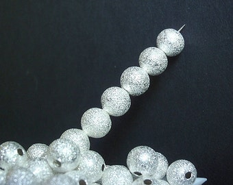 50 Beads, Bead Supply, 6mm Round Silver Plated Brass Stardust High Luster beads, Hot fashion, lead and nickel free