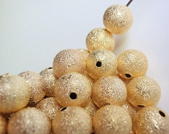 50 Large Beads, 10 mm, Jewelry making Supply, Round Gold Plated Brass Stardust High Luster, lead and nickel free