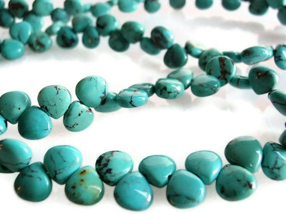 Gemstone Bead Supply / Destash, 102 Turquoise teardrop Beads, Teardrop shaped, 5 mm by 5 mm (2 mm thick) , 15 1/2 inch