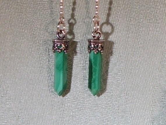 Gemstone Earrings, Malachite gemstone point and Sterling Silver dangle earrings