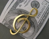 Treble Clef Money Clip / Brass