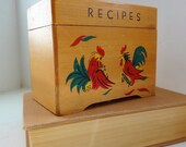 vintage wooden rooster recipe box