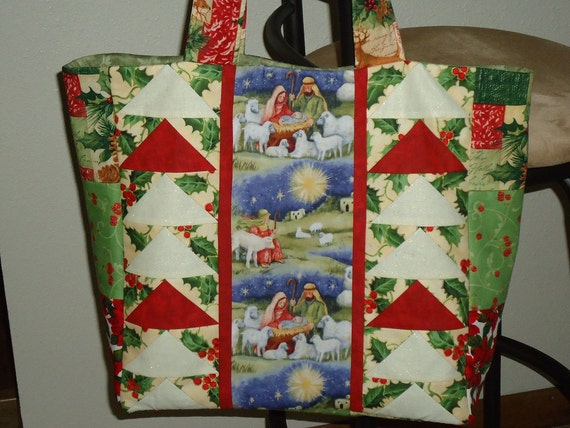 Tote Bag, Christmas Print, Manger Scene, Shopping, Market, Grocery, Baby, Diaper, Purse