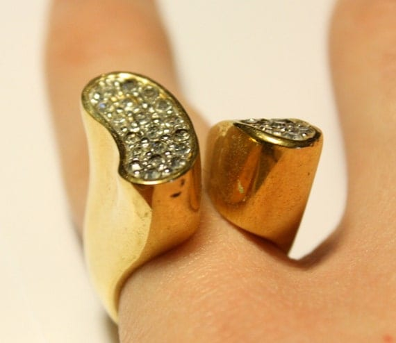 18K Gold Plated Abstract Cocktail Ring (Size 6)