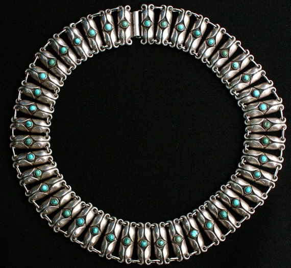 Circa 1930s/1940s Sterling Silver and Turquoise Mexican Artisan Choker Necklace