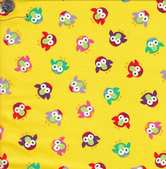 Timeless Treasures Momo Owls in Yellow