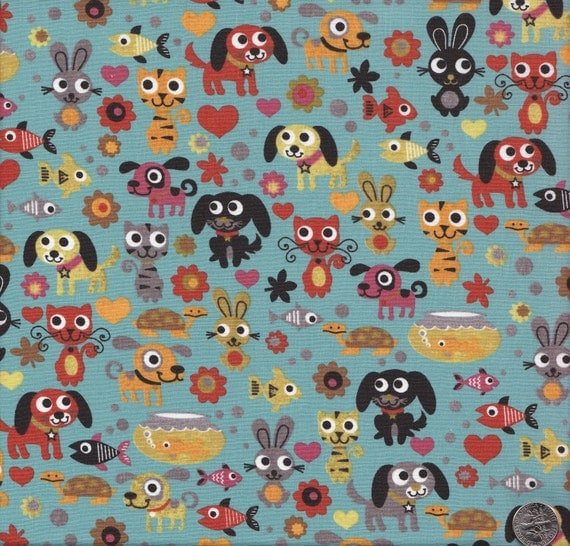 Last Yard Available - Moda Max and Whiskers Animals on Blue