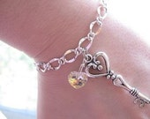 Reserved Order: Skeleton Key Bracelet - Gorgeous Unique Bella Charm - 7 inches