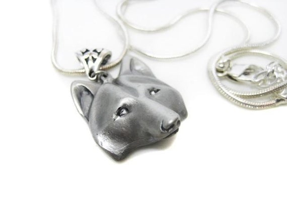 Wolf Necklace- FREE SHIPPING Silver Wolf Head Mask, Silver plated, Snake chain, unisex, female, male, boy, girl