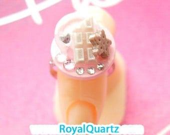 White Chocolate Ring . Kawaii cute girly delicious miniature . Royal Quartz