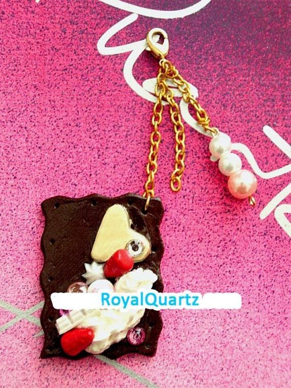 Chocolate Decadence Keychain . Kawaii cute delicious miniature . Royal Quartz