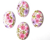 Sale! - Vintage Pink and Purple All Over Floral Plastic 25mm x 18mm Cabochon (F247)
