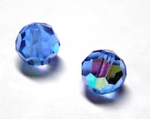 Sale! - Vintage Czech Sapphire AB Faceted Glass Beads (6)