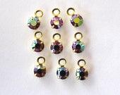 Sale! - Vintage Swarovski Hyacinth AB Rhinestone Crystal Drops/Charms (12)