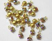 Vintage Swarovski Crystal Topaz AB 17ss Charms Rhinestones (12) Gold Plated