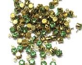 Sale! - Vintage Swarovski Peridot 17ss Charms Rhinestones (12) Raw Brass
