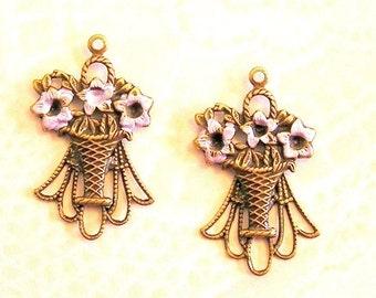Sale! - Vintage Brass Enameled Flower Basket Drops (F111)