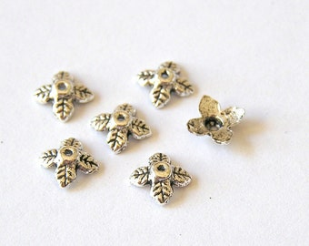 Sale! - Sale Small Silver Leaf Bead Cap 6mm (20)